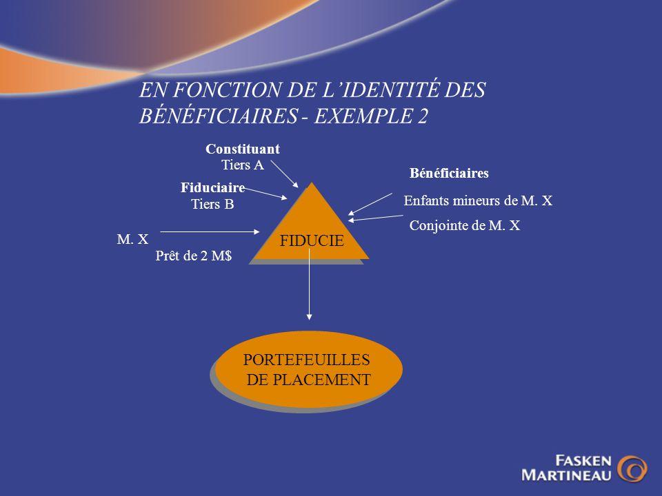 EN FONCTION DE L'IDENTITÉ DES BÉNÉFICIAIRES - EXEMPLE 2
