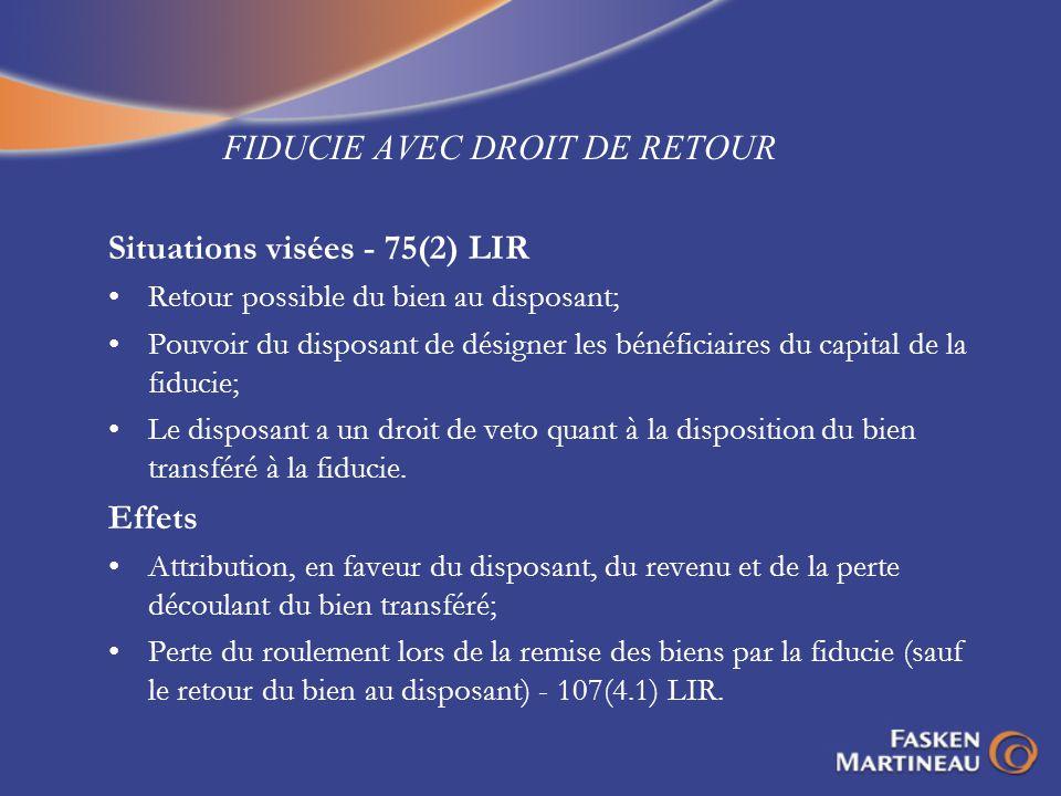 FIDUCIE AVEC DROIT DE RETOUR