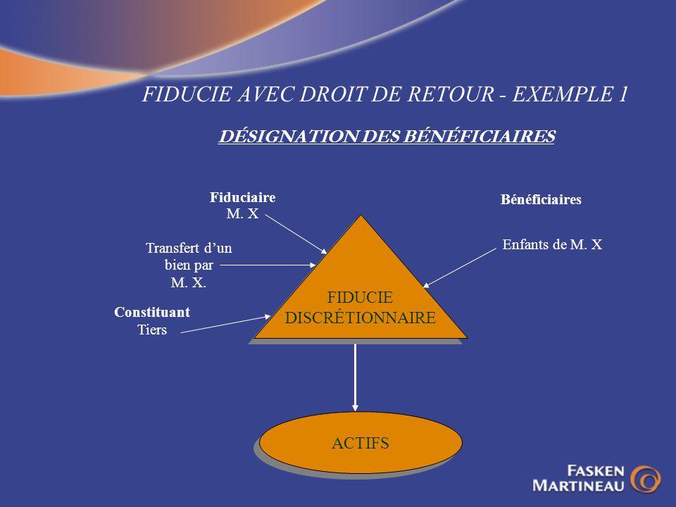 FIDUCIE AVEC DROIT DE RETOUR - EXEMPLE 1