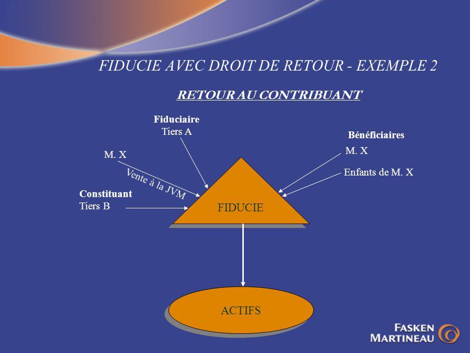 FIDUCIE AVEC DROIT DE RETOUR - EXEMPLE 2