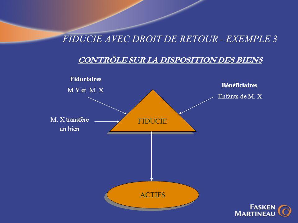 FIDUCIE AVEC DROIT DE RETOUR - EXEMPLE 3