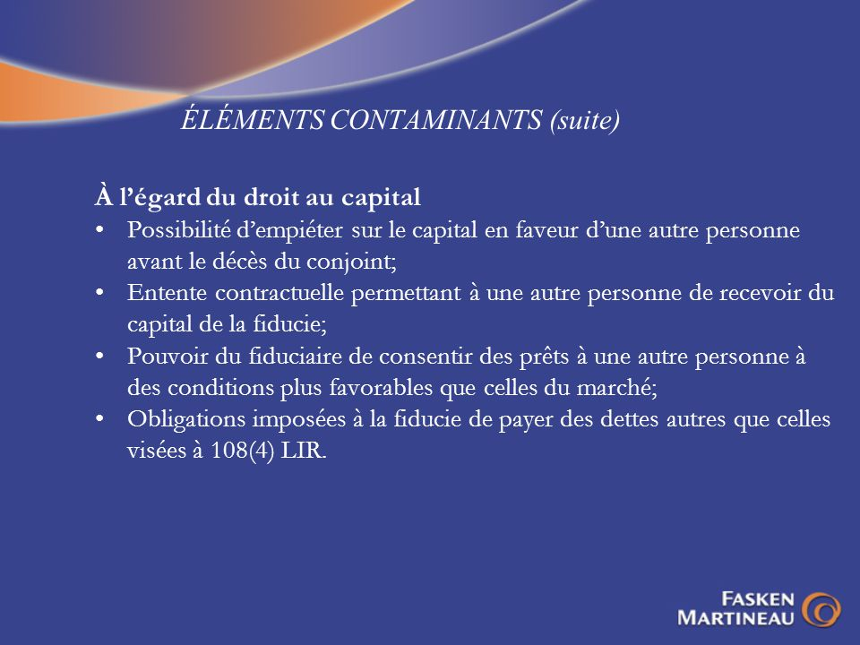 ÉLÉMENTS CONTAMINANTS (suite)