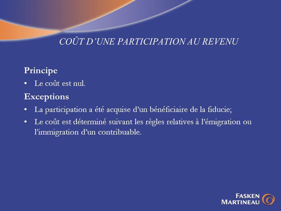 COÛT D'UNE PARTICIPATION AU REVENU