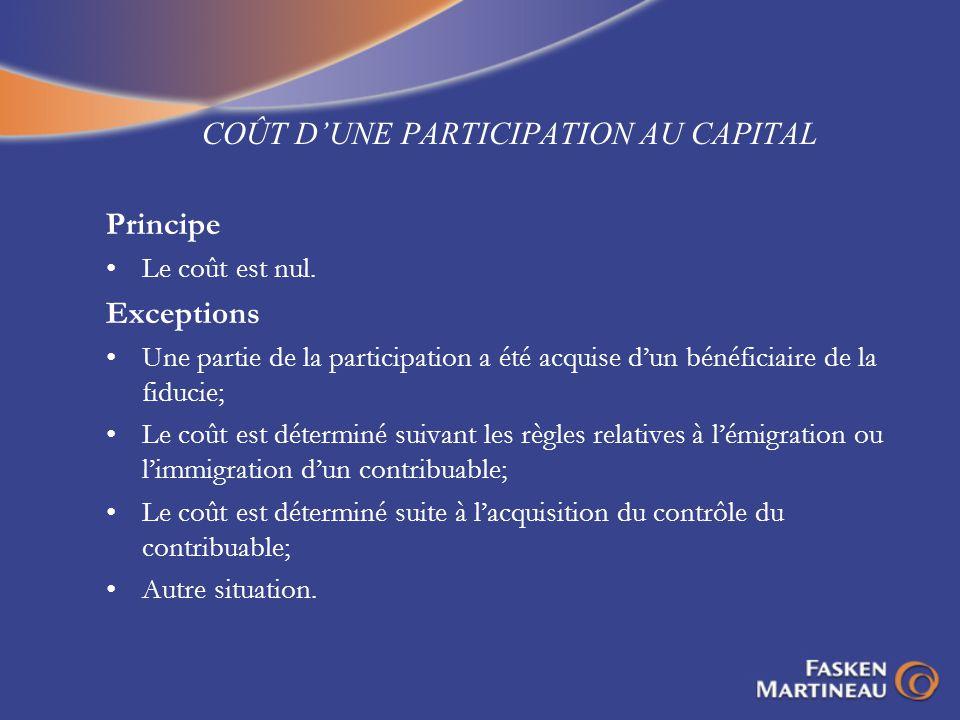 COÛT D'UNE PARTICIPATION AU CAPITAL