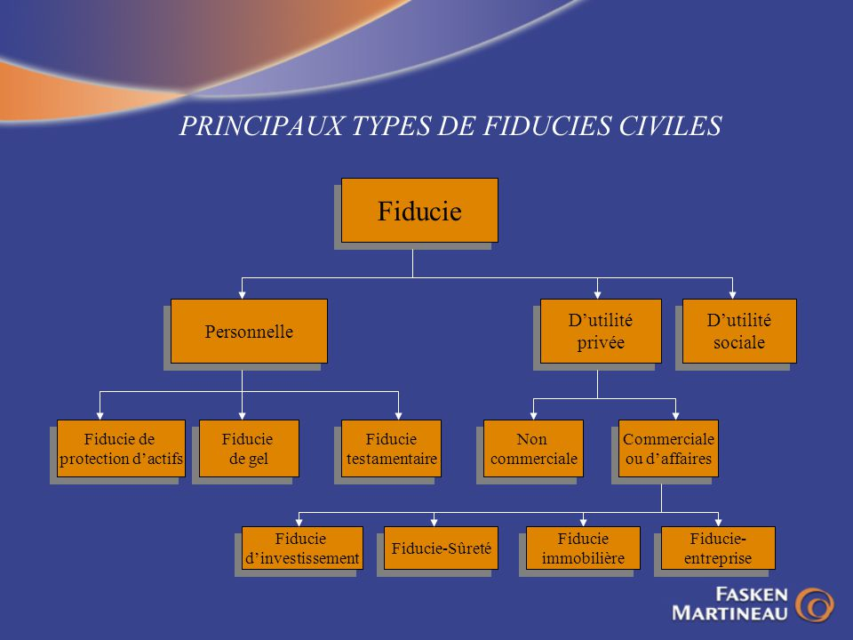 PRINCIPAUX TYPES DE FIDUCIES CIVILES