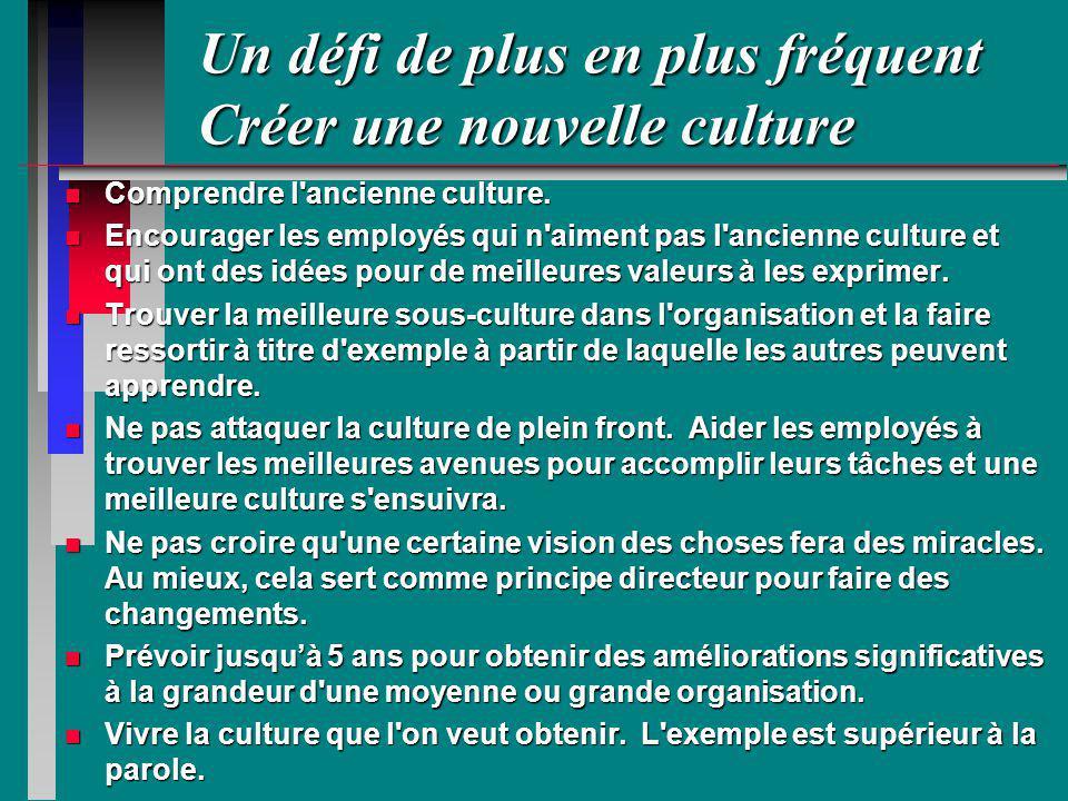 Un défi de plus en plus fréquent Créer une nouvelle culture