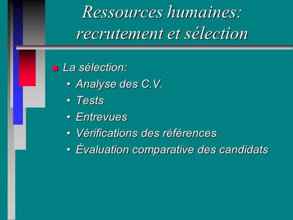 Ressources humaines: recrutement et sélection