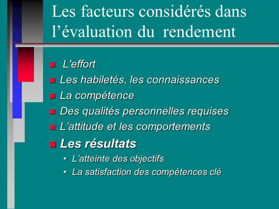 Les facteurs considérés dans l'évaluation du rendement