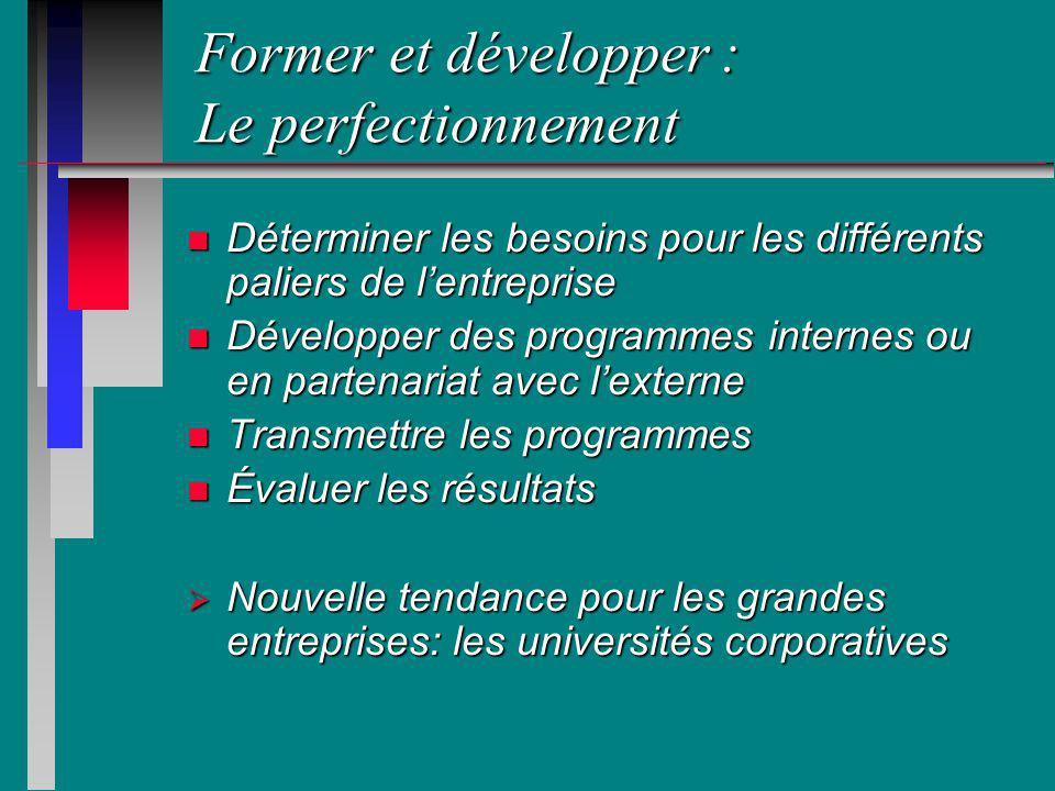 Former et développer : Le perfectionnement