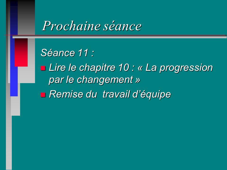 Prochaine séance Séance 11 :