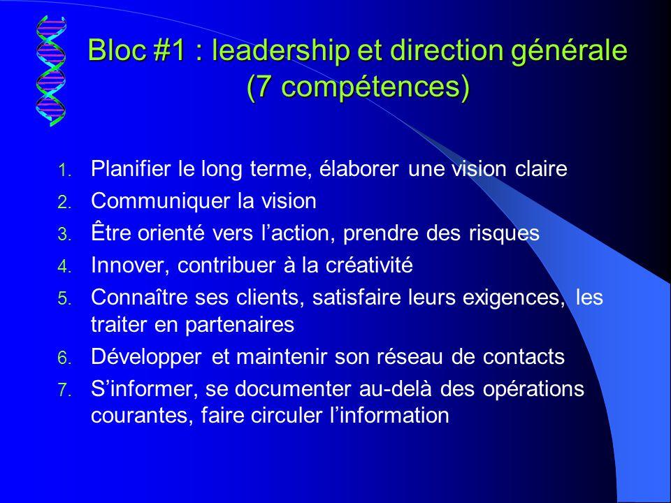 Bloc #1 : leadership et direction générale (7 compétences)