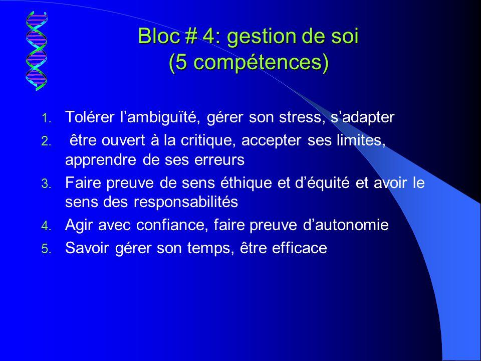 Bloc # 4: gestion de soi (5 compétences)