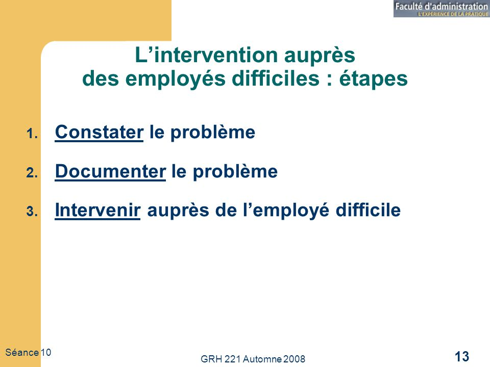 L'intervention auprès des employés difficiles : étapes