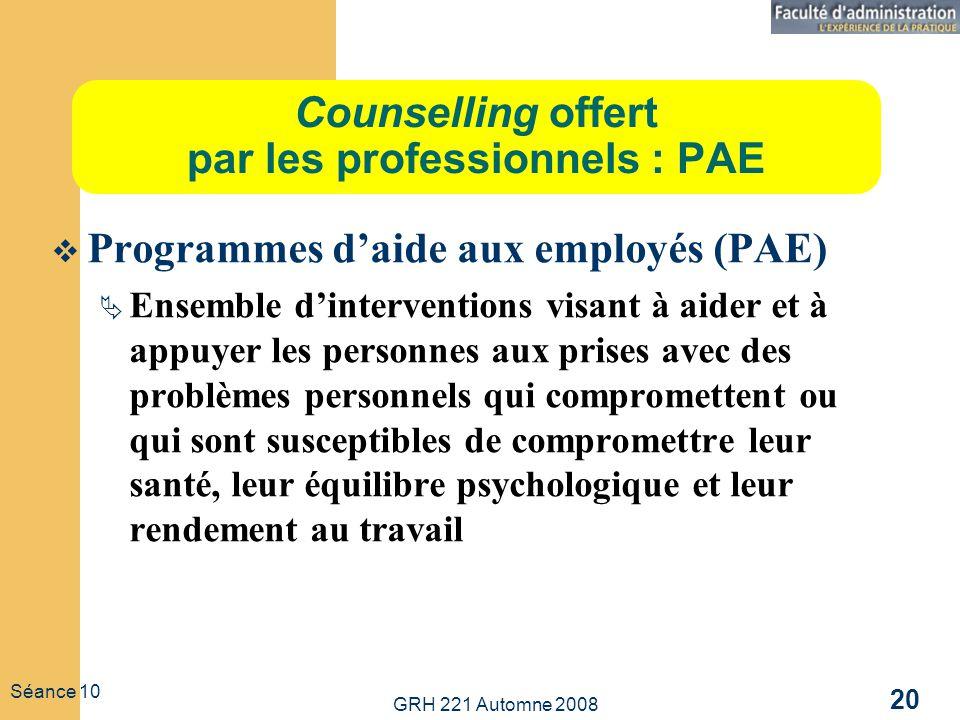 Counselling offert par les professionnels : PAE
