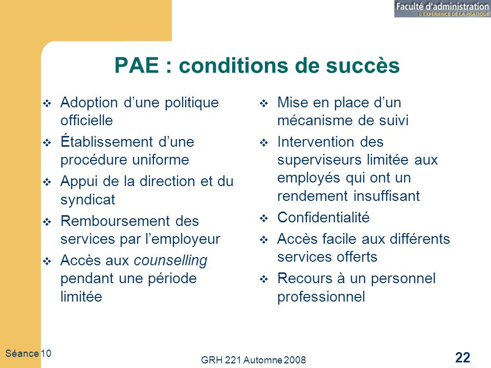 PAE : conditions de succès
