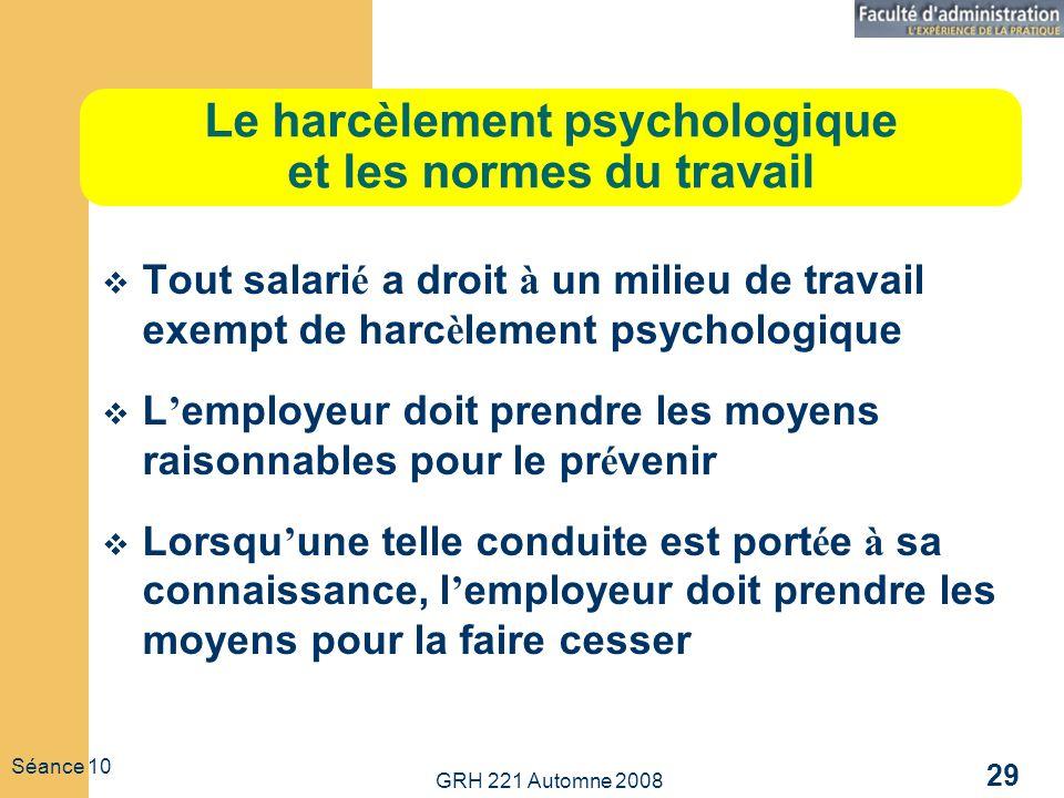 Le harcèlement psychologique et les normes du travail