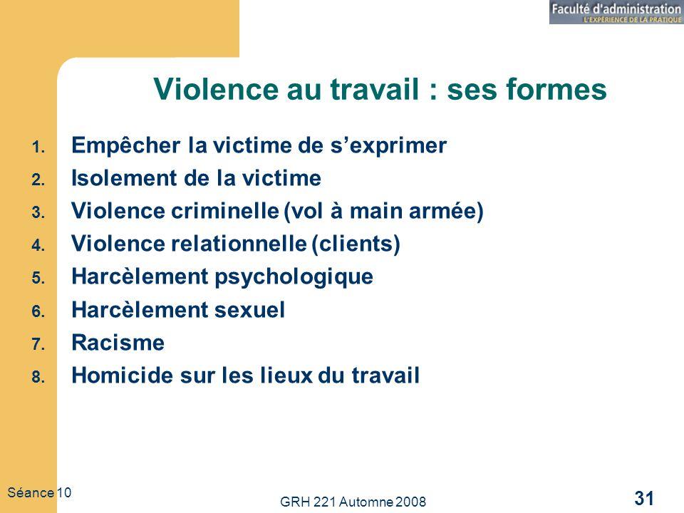 Violence au travail : ses formes