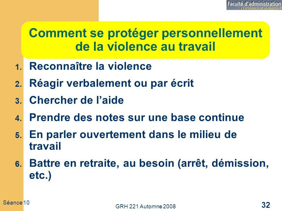 Comment se protéger personnellement de la violence au travail