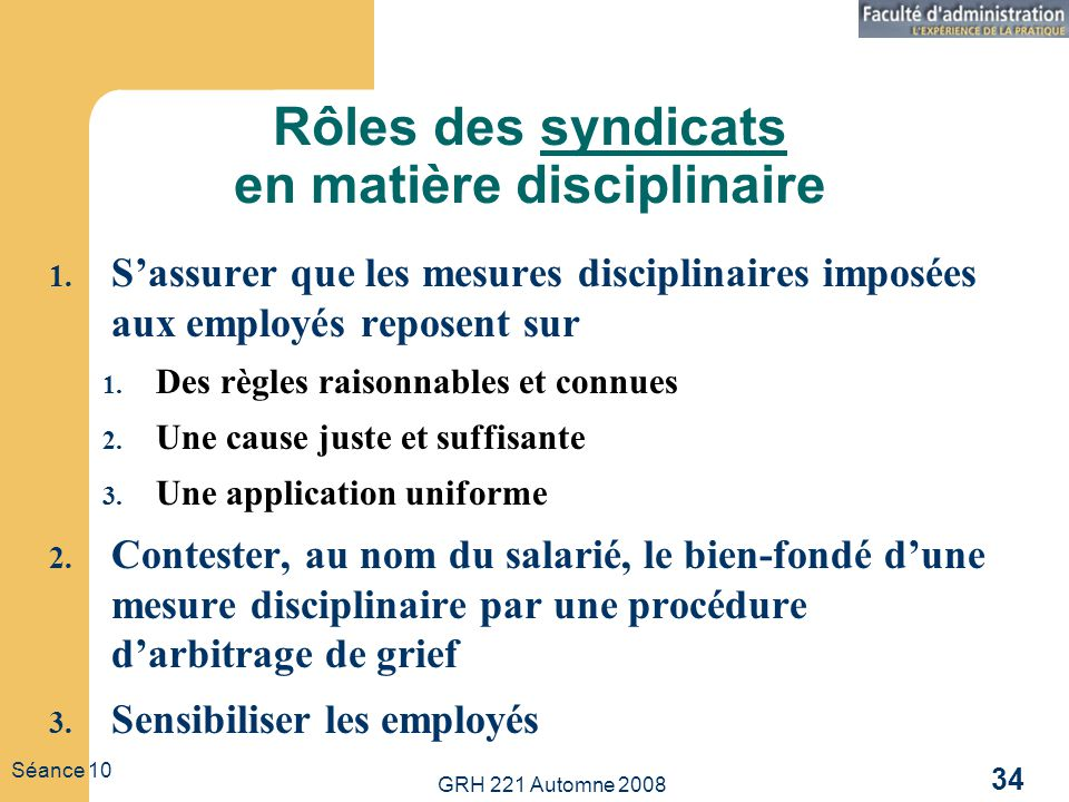 Rôles des syndicats en matière disciplinaire