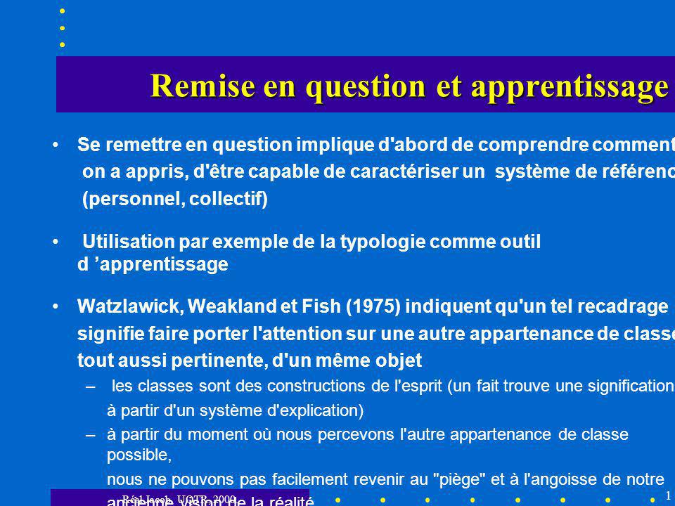 Remise en question et apprentissage