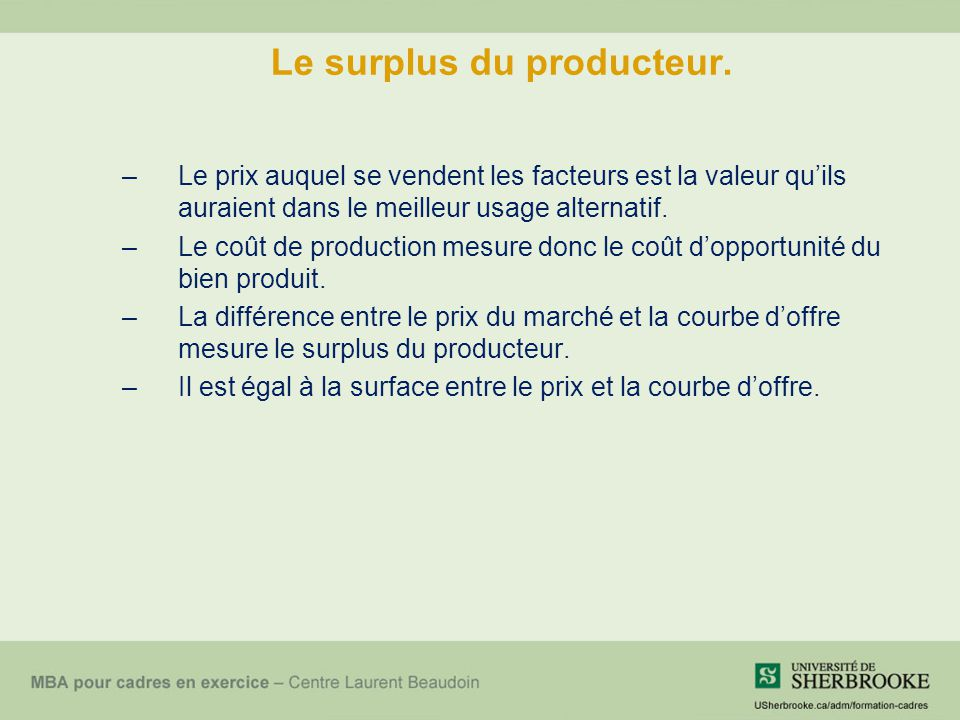 Le surplus du producteur.