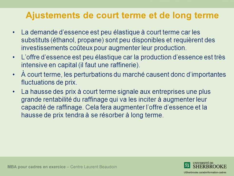 Ajustements de court terme et de long terme