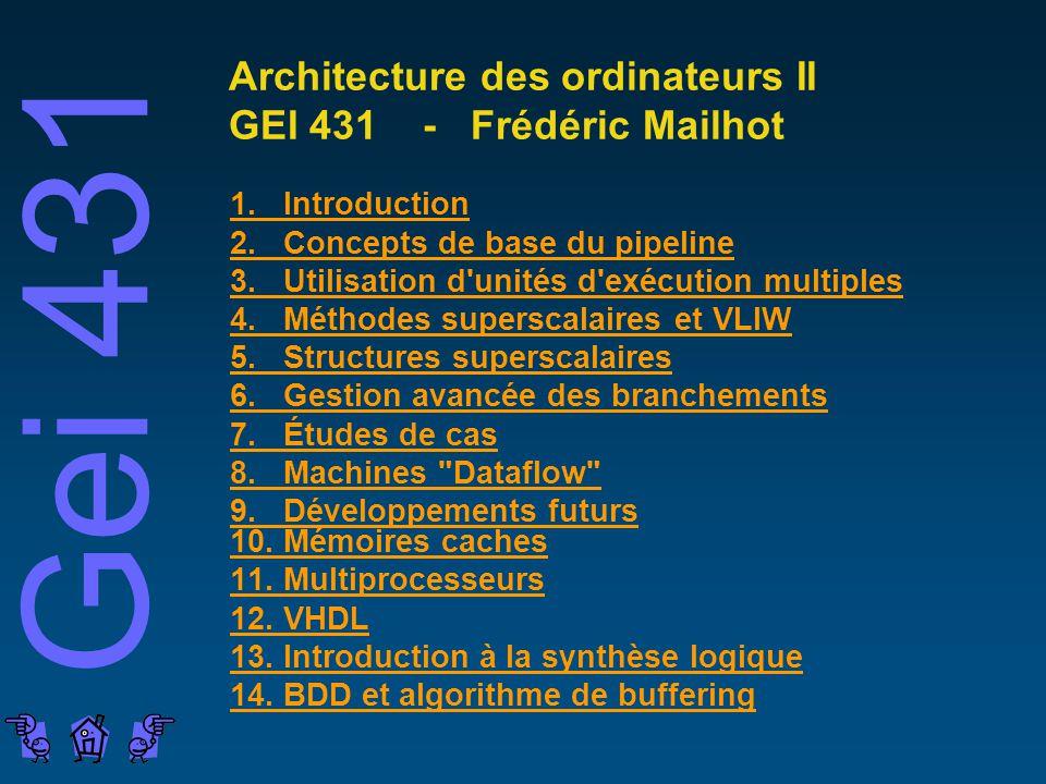 Architecture des ordinateurs II GEI 431 - Frédéric Mailhot