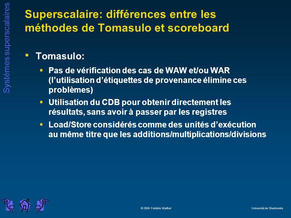 Superscalaire: différences entre les méthodes de Tomasulo et scoreboard
