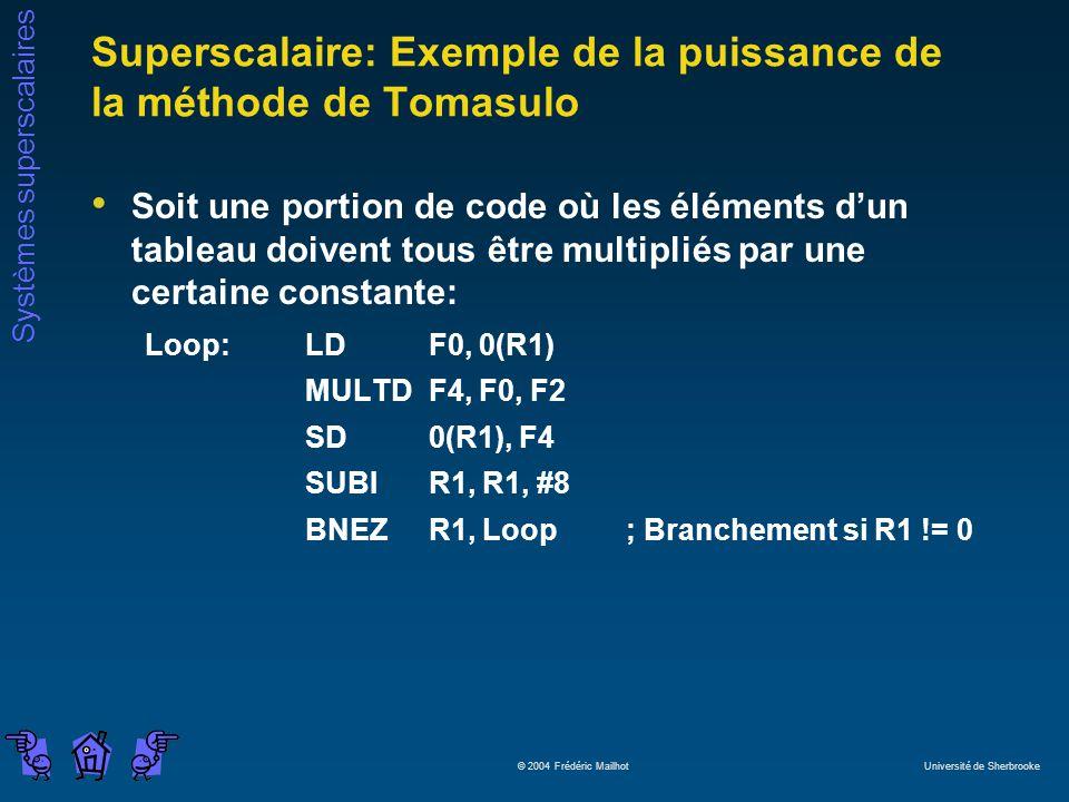 Superscalaire: Exemple de la puissance de la méthode de Tomasulo