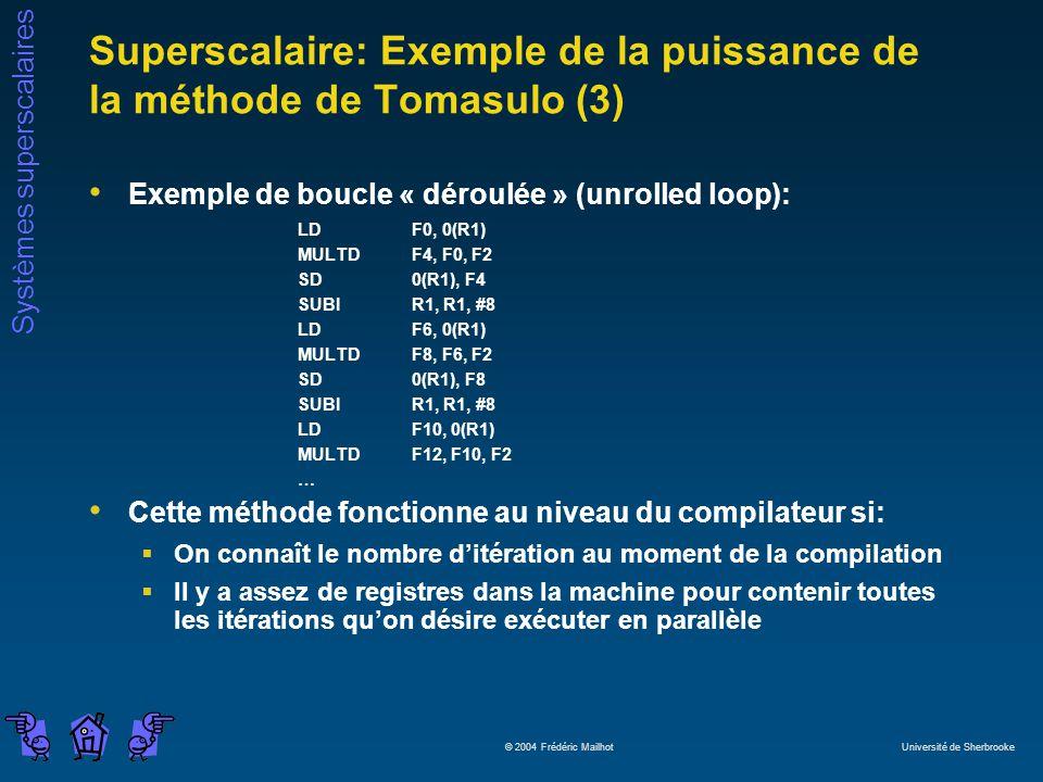 Superscalaire: Exemple de la puissance de la méthode de Tomasulo (3)