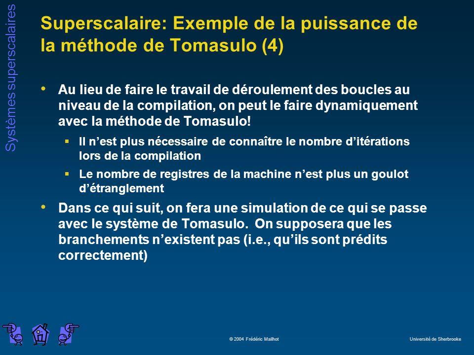 Superscalaire: Exemple de la puissance de la méthode de Tomasulo (4)