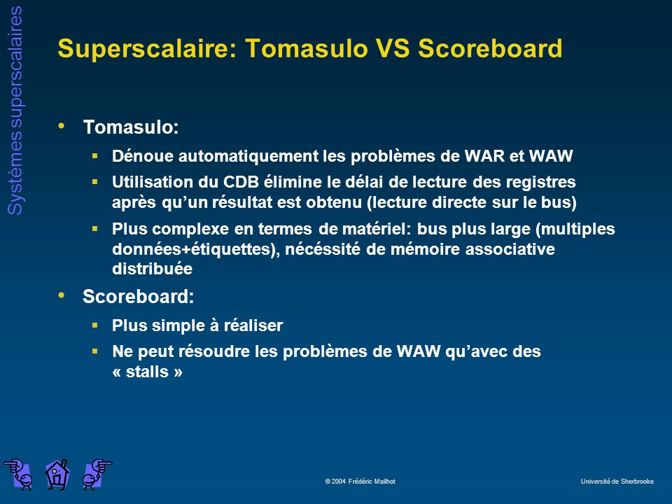 Superscalaire: Tomasulo VS Scoreboard