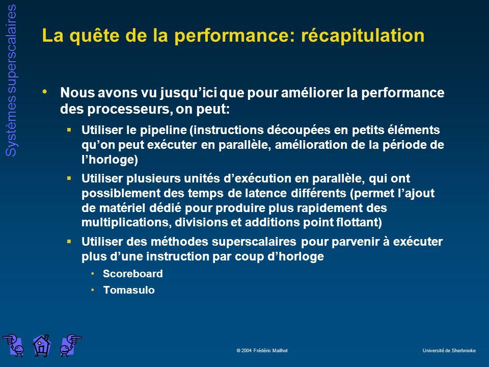 La quête de la performance: récapitulation