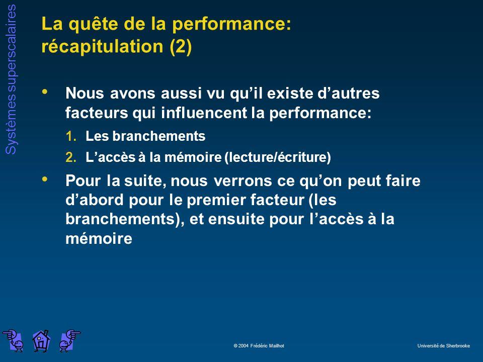 La quête de la performance: récapitulation (2)
