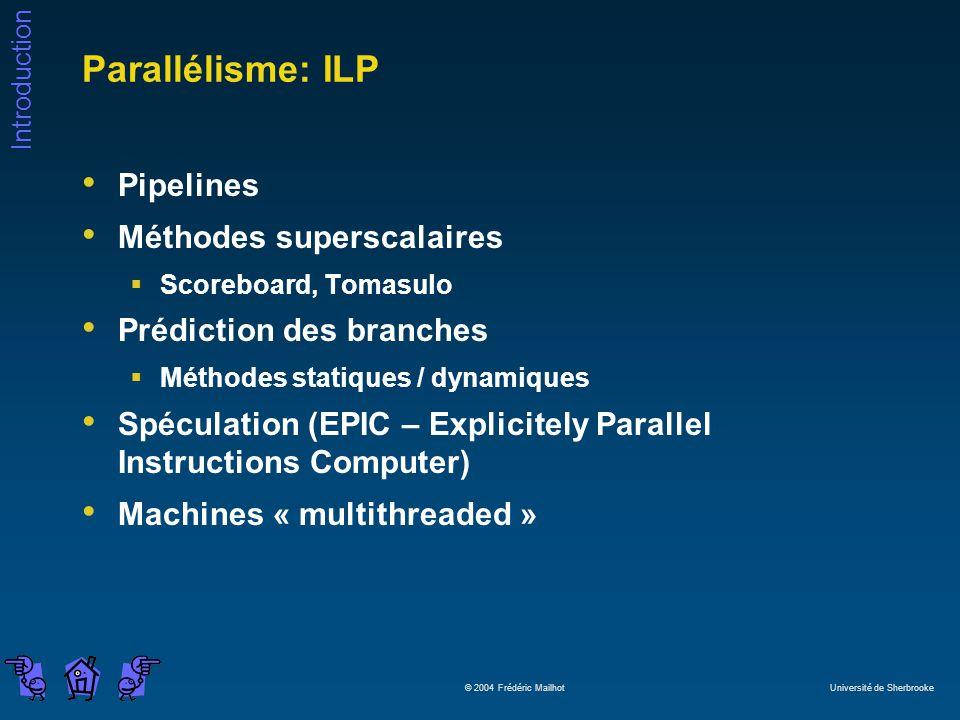 Parallélisme: ILP Pipelines Méthodes superscalaires