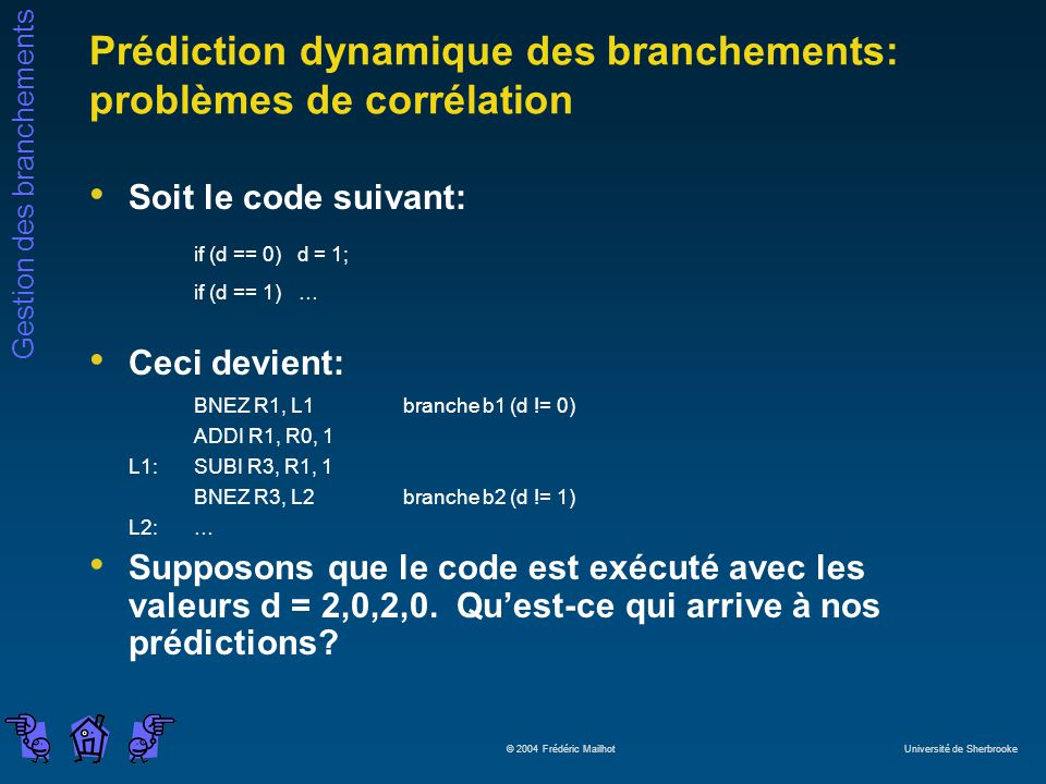 Prédiction dynamique des branchements: problèmes de corrélation