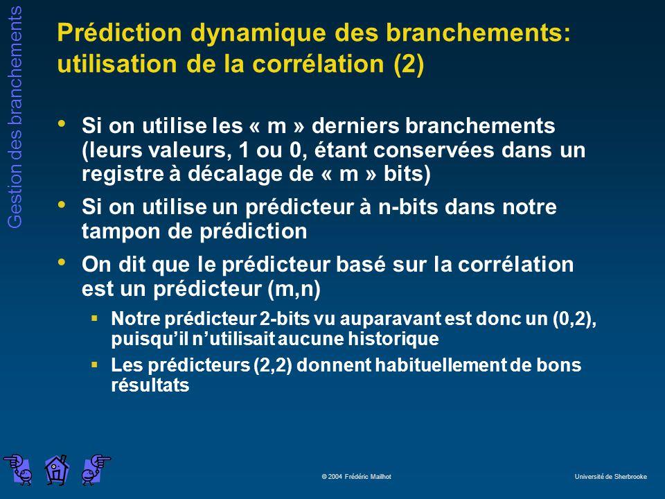 Prédiction dynamique des branchements: utilisation de la corrélation (2)