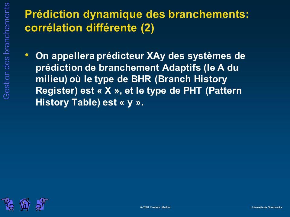 Prédiction dynamique des branchements: corrélation différente (2)