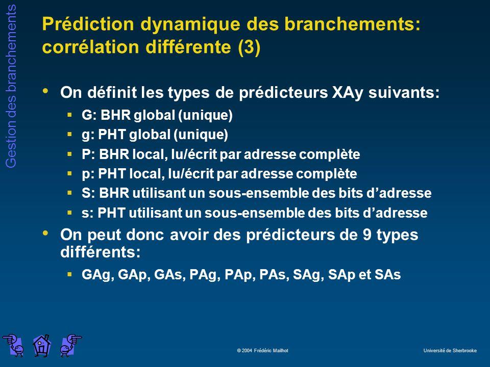 Prédiction dynamique des branchements: corrélation différente (3)