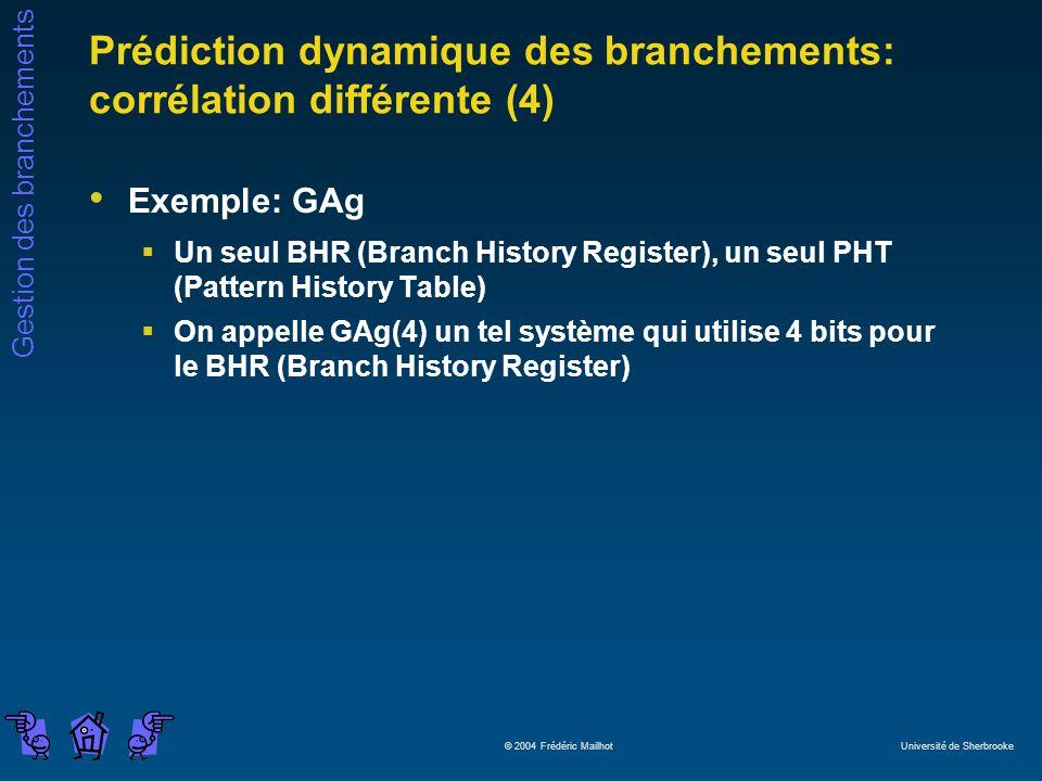 Prédiction dynamique des branchements: corrélation différente (4)