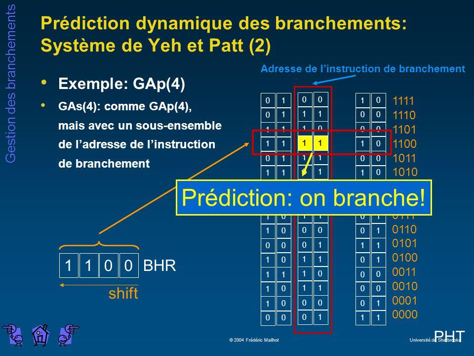 Prédiction dynamique des branchements: Système de Yeh et Patt (2)
