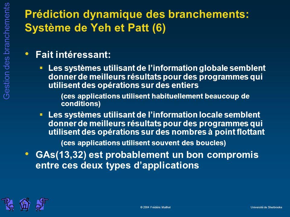 Prédiction dynamique des branchements: Système de Yeh et Patt (6)
