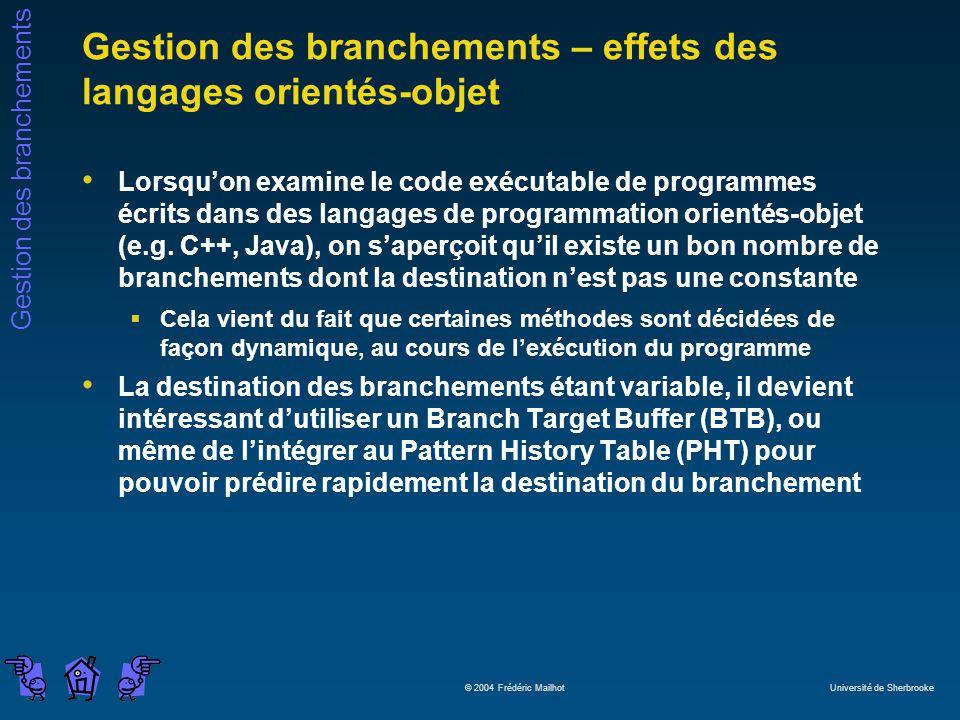 Gestion des branchements – effets des langages orientés-objet