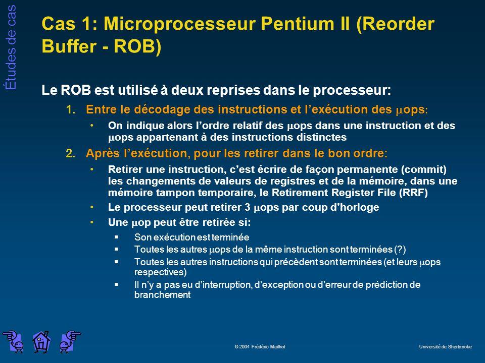Cas 1: Microprocesseur Pentium II (Reorder Buffer - ROB)