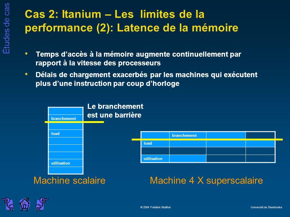 Cas 2: Itanium – Les limites de la performance (2): Latence de la mémoire