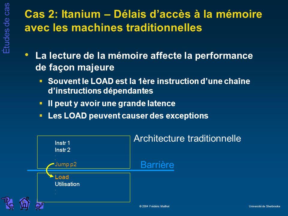 Cas 2: Itanium – Délais d'accès à la mémoire avec les machines traditionnelles