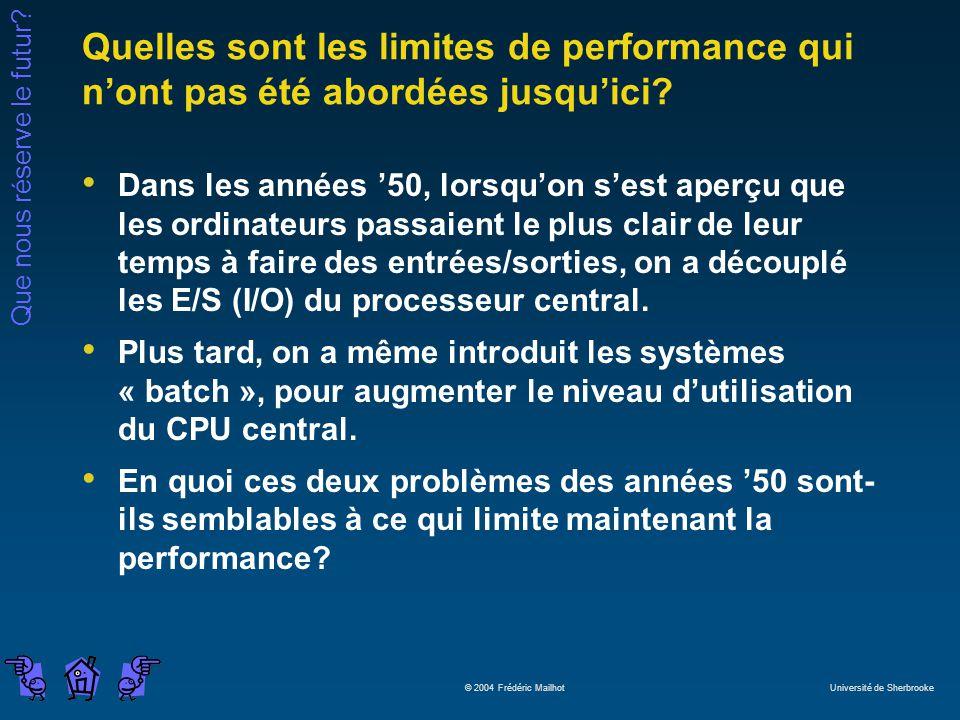 Quelles sont les limites de performance qui n'ont pas été abordées jusqu'ici