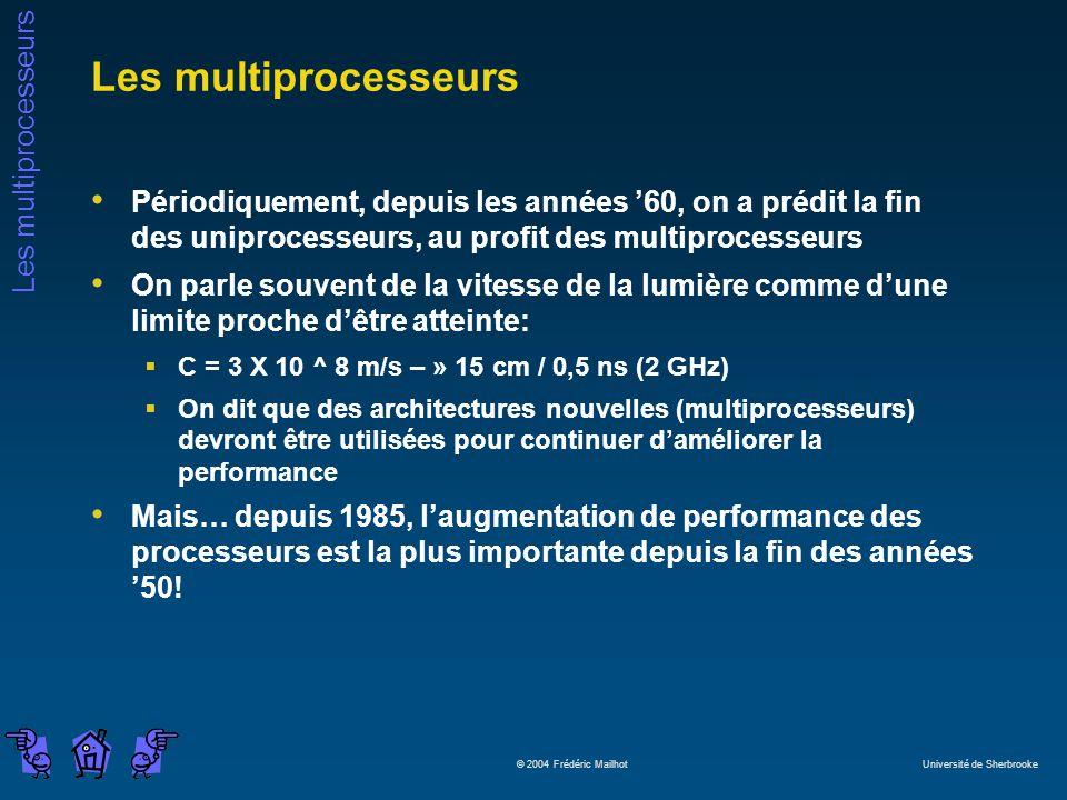 Les multiprocesseurs Périodiquement, depuis les années '60, on a prédit la fin des uniprocesseurs, au profit des multiprocesseurs.