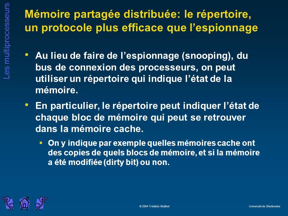 Mémoire partagée distribuée: le répertoire, un protocole plus efficace que l'espionnage