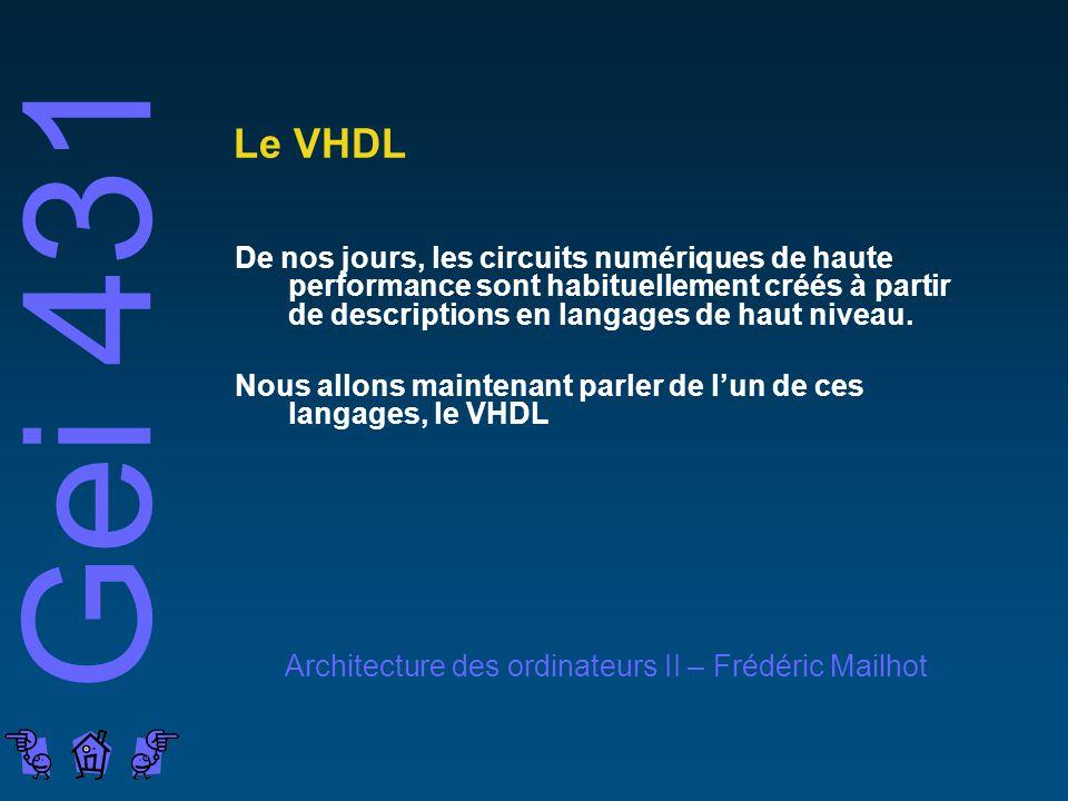 Le VHDL De nos jours, les circuits numériques de haute performance sont habituellement créés à partir de descriptions en langages de haut niveau.